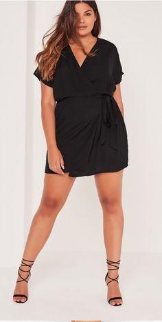 Plus Size Kimono Sleeve Wrap Dress