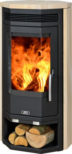 Baltik Wood Burning Stove in Black & Sandstone Fireplace Update, Farmhouse Fireplace, Home Fireplace, Fireplace Remodel, Brick Fireplace, Living Room With Fireplace, Fireplace Mantels, Contemporary Wood Burning Stoves