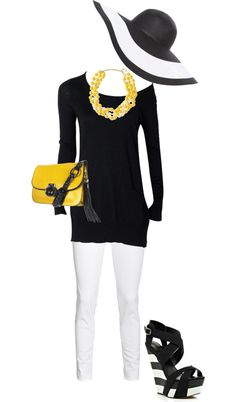 """""""B & W - Yellow"""" by erinlindsay83 on Polyvore"""