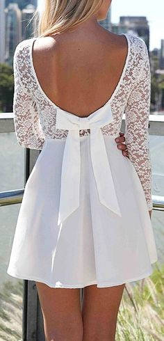 White lace bow back dress //