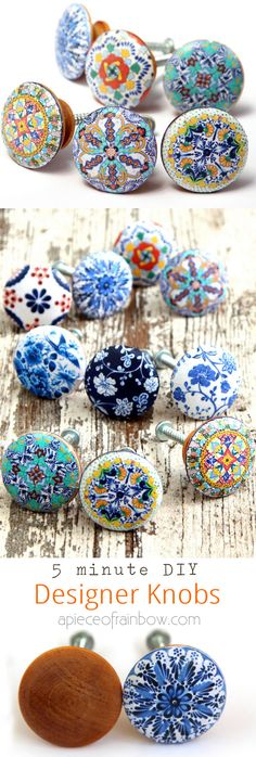 Anthropologie worthy DIY cabinet or door knobs that look like hand painted designer ceramic knobs! Download beautiful designs to make your own set easily! - A Piece Of Rainbow