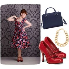 """Red Roses on Navy"" by jessica-brown-i on Polyvore"