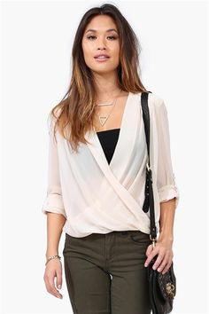 Fold Over Blouse in Beige