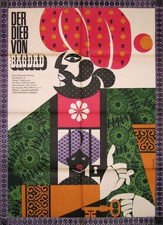 1965 East German poster for THE THIEF OF BAGDAD (Michael Powell and Ludwig Berger, UK, 1940)    Designer: Werner Gottsmann