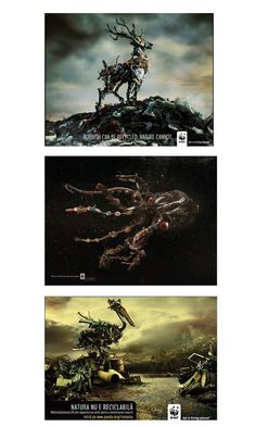 wwf campaign.. animals made of trash :(