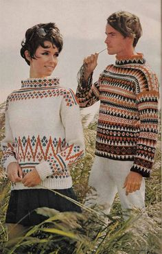A cool vintage knitting pattern for two styles of Scandinavian style sweaters - ideal coverups over shorts or jeans and also great for Sixties Fashion, Folk Fashion, Knit Fashion, Nordic Pullover, Nordic Sweater, Cool Sweaters, Vintage Sweaters, Vogue Knitting, Knitting Magazine
