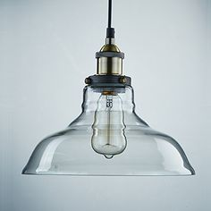 Ecopower 1 Light Industrial Edison Hanging Pendant Light Shade 1 Light with Clear Glass: Amazon.co.uk: Lighting