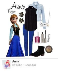 Anna (Frozen) Inspired  Outfit: Black No Sleeve, Jean Jacket, Blue Jeggings, Black Boots