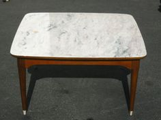 VINTAGE B.P. JOHN DANISH MID CENTURY COFFEE TABLE ~ White Faux Marble Top in Antiques, Furniture, Tables, Post-1950 | eBay