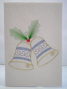 Hand Embroidered Christmas Bells Greeting by StitchyStationery, £3.50
