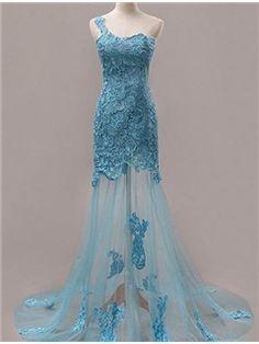 Sexy A-Line One-Shoulder Zipper-Up Evening Dress