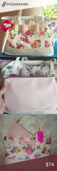 Betsey Johnson 2 in 1  Bow Floral Tote & Clutch NWT Betsey Johnson 2 in 1  Scalloped Bow Pink Floral Tote & Clutch  - large stunning Tote with floral in vibrant shades of pink. Large pink bow on front. Pink, detachable clutch . Betsey's signature floral print inside. Betsey Johnson Bags Totes