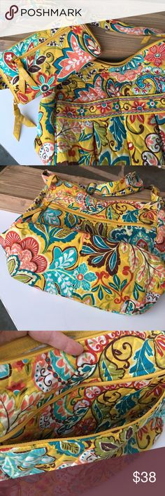 Vera Bradley Provençal purse and wallet combo This purse and wallet combo is in GUC! Only minor wear on strap(see pic) and it has a few dingy spots but they will probably wash! I love this happy yellow pattern and it will be perfect for fall or all year! 11 inches wide by 10 deep! Cross body fit as well as a shoulder bag! Retired Provençal pattern Vera Bradley Bags Shoulder Bags