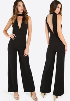 2017Women-039-s-Sexy-Deep-V-Neck-Sleeveless-Wide-Leg-Loose-Jumpsuits-Rompers-size-M