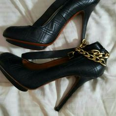 Lanvin Pumps Black Lanvin pumps with gold chain and strap. Never worn before.... Lanvin Shoes Heels
