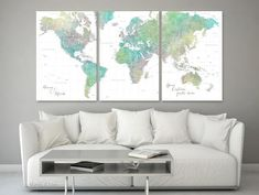 Multi panel world map canvas print or push pin map, highly detailed world map with cities. Gold World Map, Detailed World Map, Map Pictures, World Map Canvas, Large Canvas Prints, Watercolor Map, Custom Map, Large Art, Brown And Grey