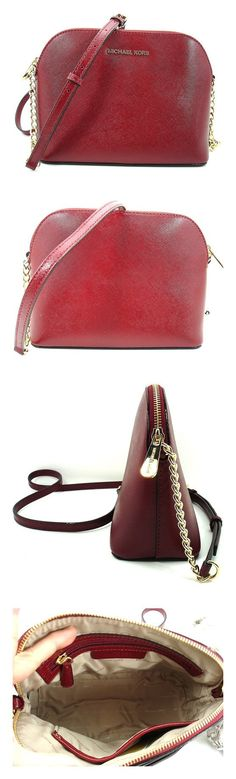 3d515ebea1c5 Michael Kors Cindy Large Dome Saffiano Leather Crossbody Cherry (Red)