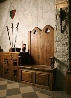 medieval, interior, design: an idea of medieval chairs/benches