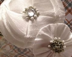 White Fabric Flower Bridal Hair Clip by DinkybirdBoutique on Etsy