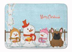 Merry Christmas Carolers French Bulldog Brown Machine Washable Memory Foam Mat BB2344RUG