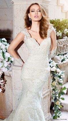 moonlight couture spring 2016 wedding dresses lace strap v neckline lace embroidery slim cut fit flare trumpet beautiful mermaid gown h1297