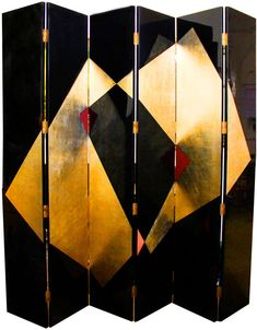 Six-Panel Large Art Deco Lacquer Screen