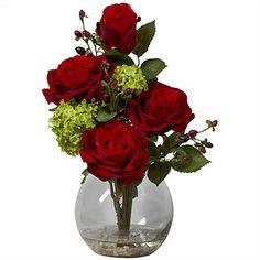 Rose & Hydrangea Silk Flower Arrangement