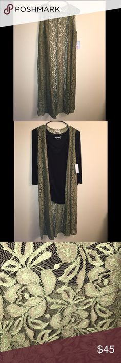 NEW LulaRoe Joy This full length lace olive green Joy is a must have!! It's a perfect lightweight layering piece for any closet! (Black shirt not for sale) Bundle and save! Check out my closet! LuLaRoe Tops