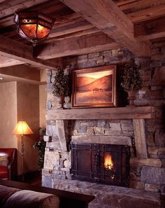 rustic fireplace ideas | Love this fireplace! Modern Rustic Homes | Atlanta Homes & Lifestyles