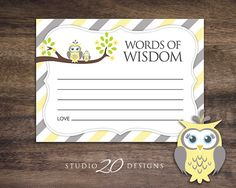 Instant Download Yellow Owl Advice Cards Yellow by Studio20Designs