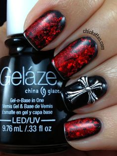 Chickettes.com Red and Black Gothic Nails using Foils & Cross Stud