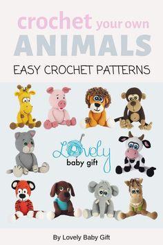 Easy Crochet Patterns to make Fun Amigurumi Animal Toys. #lovelybabygift #amigurumi #crochetanimal Easy Amigurumi Pattern, Crochet Animal Amigurumi, Crochet Animals, Crochet For Boys, Diy Crochet, Crochet Baby, Crochet Toys Patterns, Stuffed Toys Patterns, Knitting Patterns