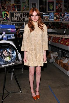 Pin for Later: Karen Gillan Is Definitely a Style Star to Watch  Karen once again turned to her favourite fashion era when she picked this retro lace swing dress for a Doctor Who DVD signing in 2011.
