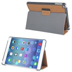 For+iPad+Air+Brown+Denim+Texture+Leather+Case+with+Holder+&+Sleep+/+Wake-up+Function