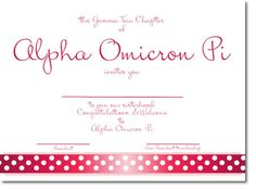 Alpha Omicron Pi Sorority Bid Day Card with cute ribbon design - a personalized invitation for your chapter! http://www.trulysisters.com/alpha-omicron-pi-sorority/bid-day-cards/invitation-style-b/