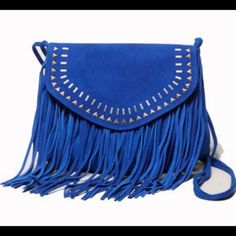 blue cross body Dark blue fringe cross body. Gently used American Eagle Outfitters Bags Crossbody Bags