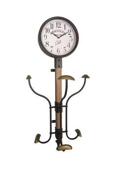 Διακοσμητικά :: Ρολόγια Τοίχου :: Ρολόι-Κρεμάστρα Τοίχου Μεταλλικό Bistro Μαύρο 80εκ. Clock, Wall, Design, Home Decor, Watch, Decoration Home, Room Decor, Clocks