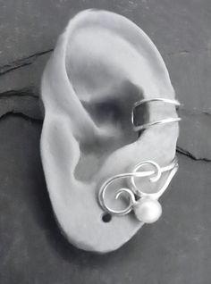 CURLY PEARL Silver Ear Cuff  Handcrafted by SunnySkiesStudio, $34.50