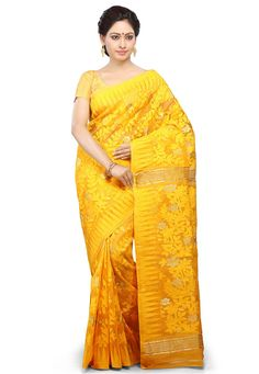Ochre Cotton and Silk Bengal Handloom Saree with Blouse