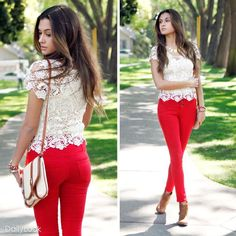 """Nude doily lace top with red high waist denim pants. Soft on the top and strong in the bottom."""