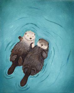 Otterly Romantic - Otters Holding Hands Art Print