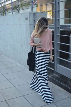 Striped, graphic maxi skirt paired with a neutral top