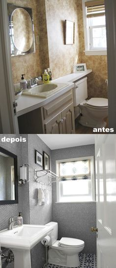 Banheiro antes e depois http://www.countryliving.com/homes/renovation-and-remodeling/before-and-after-home-makeovers