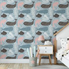 Whale Pattern Removable Wallpaper, Underwater Wall Cling, Nautical Peel and Stick, Modern Beach Decor, Cute Ocean Creatures Wall Mural - Canvas Wall Decal / 1 roll: 24W x 84H