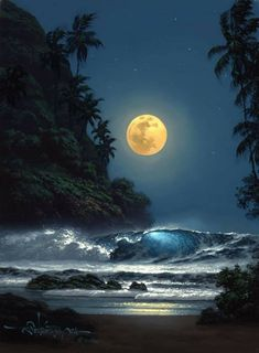 Midnight Gold Unframed Giclee on Canvas Available Image Sizes: x and Gallery Wrap Versions Available. Artist Enhanced Editions are hand-embellished. Moon Pictures, Nature Pictures, Pretty Pictures, Beautiful Moon, Beautiful World, Beautiful Places, Beautiful Scenery, Amazing Places, Foto Picture