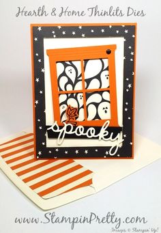 InKing Royalty August Blog Hop - http://stampinpretty.com/2015/08/inking-royalty-august-blog-hop.html  Spooky!  This Halloween card highlights the window created with the Hearth  & Home Thinlits Dies. More details & Stampin' Up! card ideas on my Stampin' Pretty blog, http://stampinpretty.com.  Mary Fish, Independent Stampin' Up! Demonstrator.