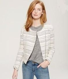 Ann Taylor Loft Ivory Striped Tweed Moto Jacket