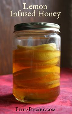 Lemon infused Honey is one of the most requested condiments in my household...and it's good medicine, too!  It is super-easy to make and totally worth trying. Check it out! recipe from pixiespocket.com