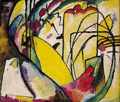 Wassily Kandinsky, Improvisation 10. 1910, Oil on canvas, 47-1/4 x 55 inches.The painting was banned and exhibited by the Nazi regime in the Degenerate art exhibition in 1939.