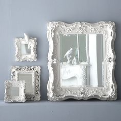 Boho Blanc deep frame plaster mirror ~ These exquisite hand-cast plaster framed mirrors are exact replicas of rare and very valuable antique originals. Made in England by craftsmen. #frames